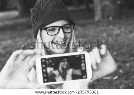 Taking self portrait - stock photo