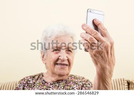 taking selfie - stock photo