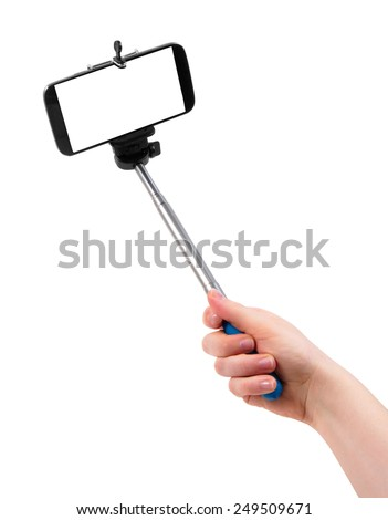 taking selfie picture on white - stock photo