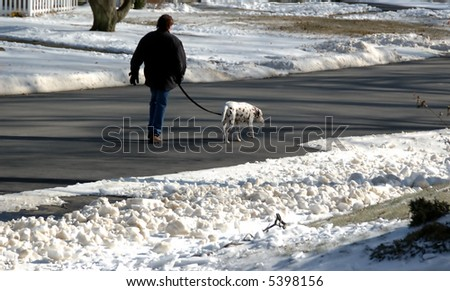 Taking the dog for a walk on a winter day - stock photo