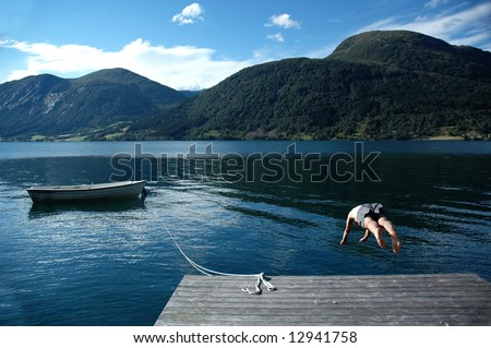 Taking the plunge - stock photo