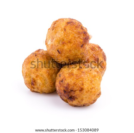 Takoyaki on white background