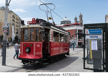 TAKSIM, ISTANBUL/TURKEY, JUNE 14TH: Image of tram traveling through Taksim located in the city of Istanbul on 14th June, 2016 in Taksim