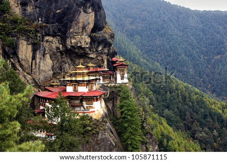 Taktshang Goemba(Tigers Nest Monastery), Bhutan, in  a mountain cliff. - stock photo