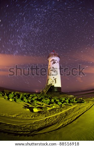 Talacre lighthouse at night in north wales - stock photo