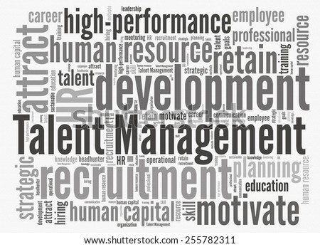 Talent management in word collage - stock photo