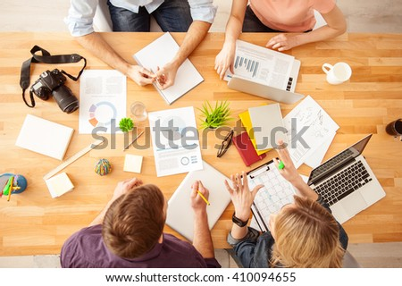 Talented four freelancers are working on project - stock photo