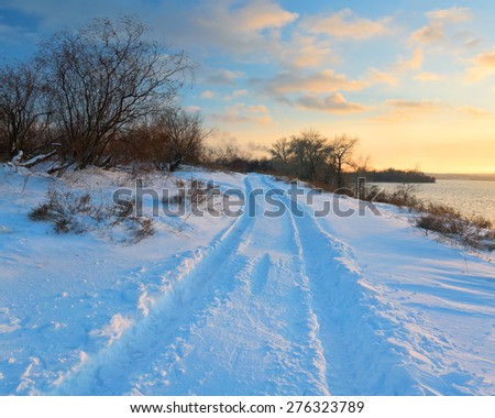tales winter trail on snow in ukraine - stock photo