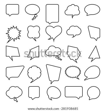 Talk and think comics bubbles silhouettes set for communication.  - stock photo