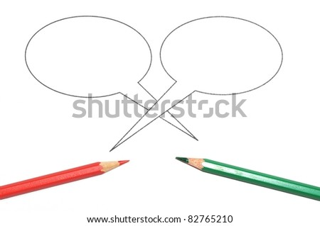 talk bubble with copy space and pen isolated on a white background - stock photo