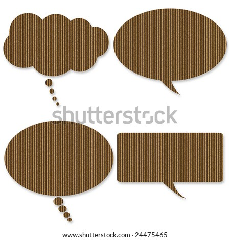 Talk bubbles made of cardboard over white - stock photo
