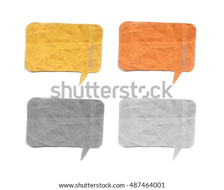 talk origami tag paper on white background