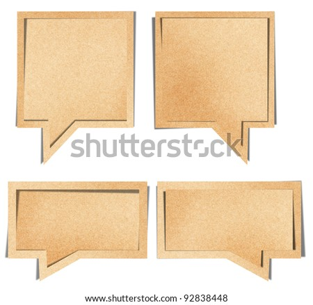 talk origami tag recycled brown paper craft stick on white background - stock photo