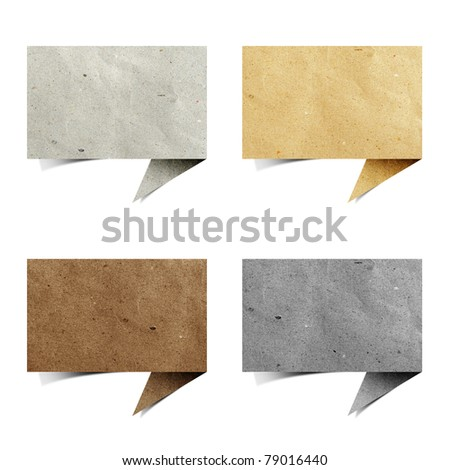talk origami tag recycled paper craft stick on white background - stock photo