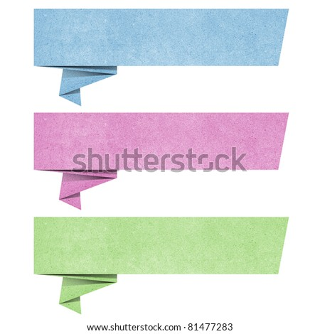 talk origami tag recycled paper craft stick on white background