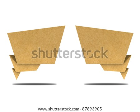 Talk tag recycled paper craft  on white background. - stock photo