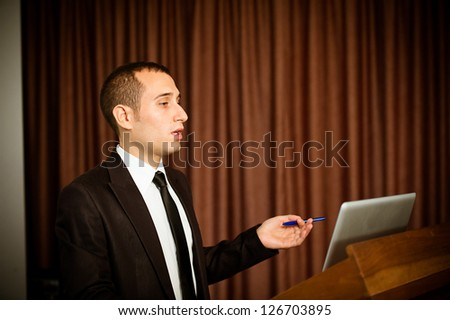 Talking at convention, Italy - stock photo
