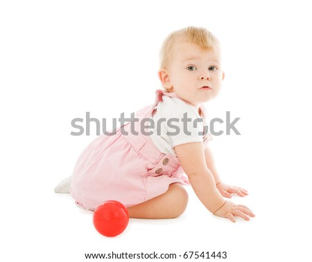 Talking baby with red ball