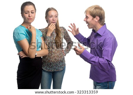 Talking blond man and two women on white background