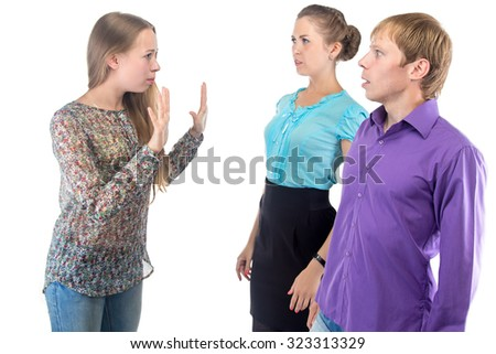 Talking blond woman and two people on white background