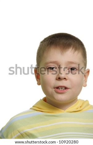 Talking boy in yellow isolated over white
