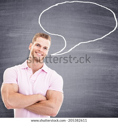 Talking muscular fitness instructor with speech bubble  - stock photo