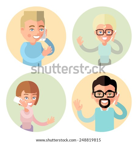 Talking on the phone men and women. In the flat style. Set. - stock photo