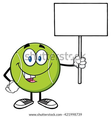 Talking Tennis Ball Cartoon Mascot Character Holding A Blank Sign. Raster Illustration Isolated On White - stock photo