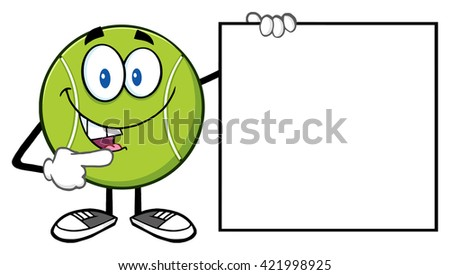 Talking Tennis Ball Cartoon Mascot Character Pointing To A Blank Sign. Raster Illustration Isolated On White - stock photo