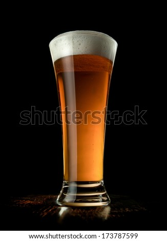 Tall Beer with Black Background