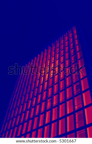 tall black office building in thermal imaging simulation