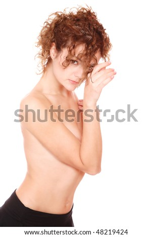 Tall blond female topless over white background