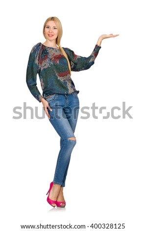 Tall blond hair model posing in blue jeans isolated on white - stock photo