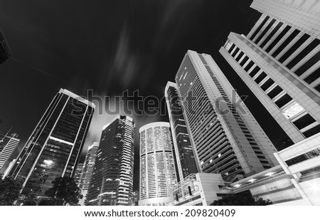 tall building night scenery in hongkong - stock photo