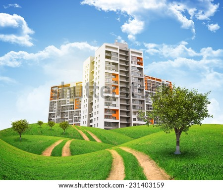 Tall buildings, green hills and road against sky with clouds. Architectural concept - stock photo
