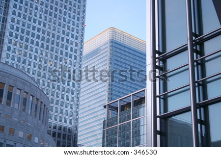 tall buildings in canary wharf - stock photo