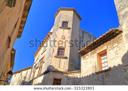 Tall buildings in the old town of Les Baux de Provence, Provence, France - stock photo