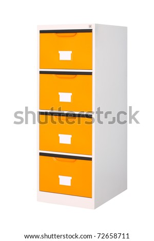 Tall cabinet with 4 drawers isolated on white - stock photo