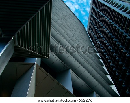 Tall city buildings making interesting shapes - stock photo