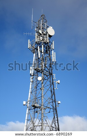 Tall communication tower.