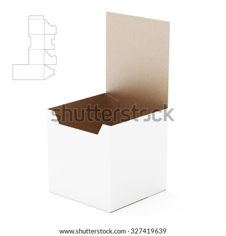 Tall Counter Display Box with Die Line Template - stock photo
