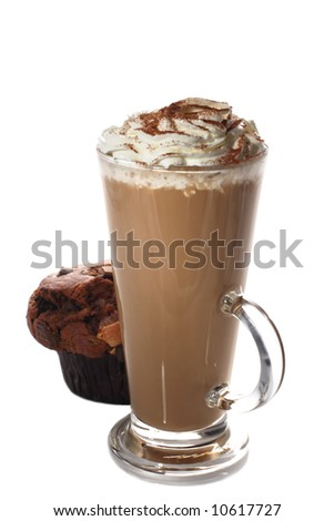 tall cup of fresh coffee latte and muffin isolated - stock photo