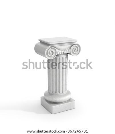 Tall Doric Column Pillar Isolated on White Background. Pedestal. - stock photo