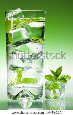 Tall drink with mint and ice - stock photo
