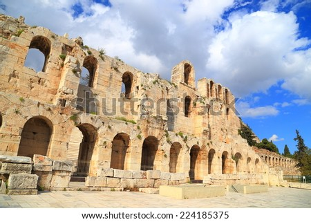 Tall facade of ancient Greek amphitheater of Herodes Atticus in Athens, Greece - stock photo