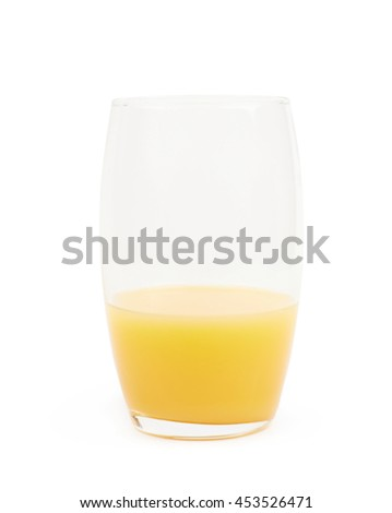 Tall glass half-filled with orange juice isolated over the white background - stock photo