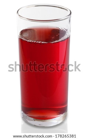 Tall glass of fresh cranberry juice over white background, includes a clipping path - stock photo