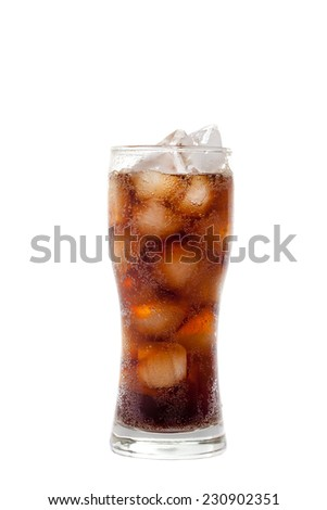 tall glass with cola drink with chunks of ice isolated on white background - stock photo