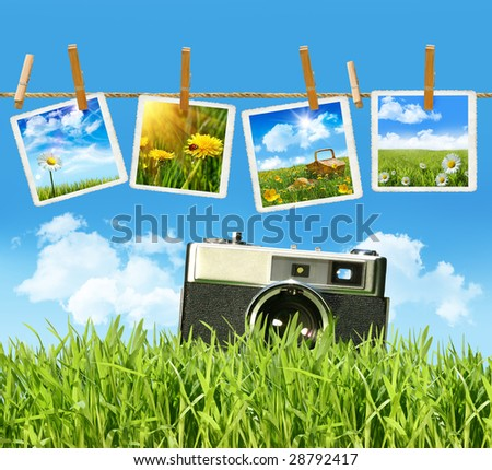 Tall grass with old vintage camera and pictures on clothesline - stock photo