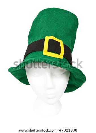 Tall green St. Patrick's Day hat with buckle. Includes a clipping path around hat.